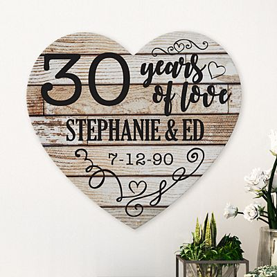 Years of Love Anniversary Wood Heart