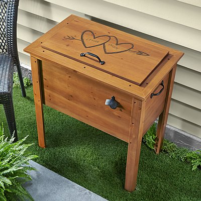 Our Hearts Wooden Beverage Cooler