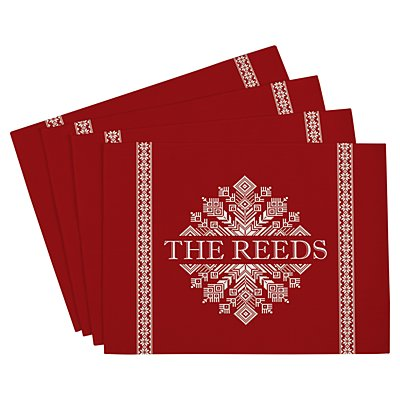 Classic Snowflake Placemat - Red - Set of 4