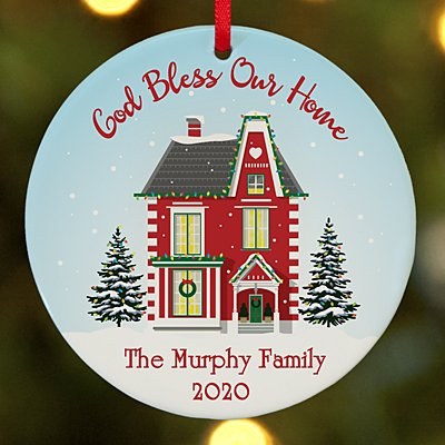 God Bless Our Home Round Ornament