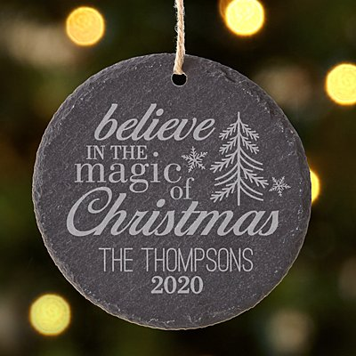 Magic of Christmas Round Slate Ornament