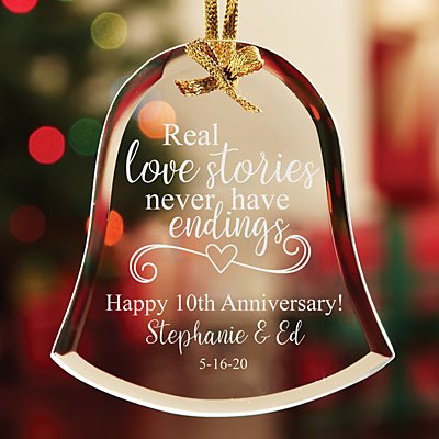 Real Love Stories Anniversary Bell Glass Ornament
