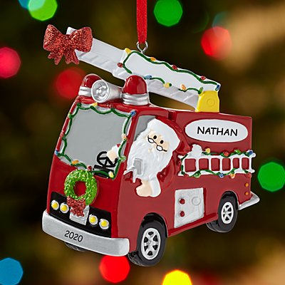 Santa Claus is Coming to Town Firetruck Ornament