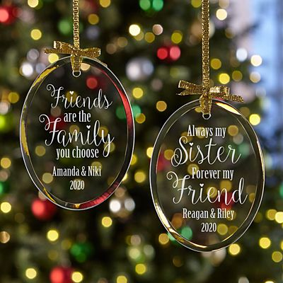 Sisters and Friends Oval Glass Ornament