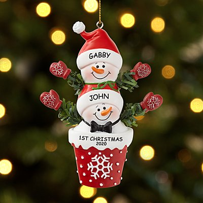 Stackable Snowman Couple Ornament