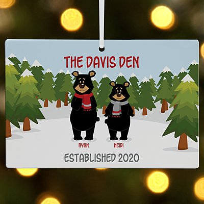 Beary Christmas Couple Rectangle Ornament
