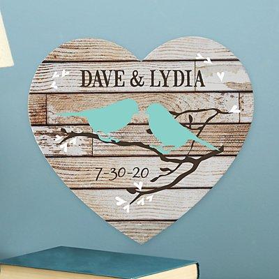 Sweet Lovebirds Wooden Heart