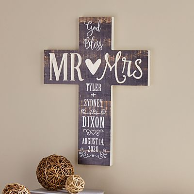 God Bless Mr. & Mrs. Wooden Cross