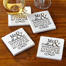Happy Couple Tile Coaster Set