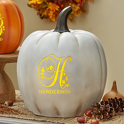 Light-Up Floral Name XL Cream Pumpkin