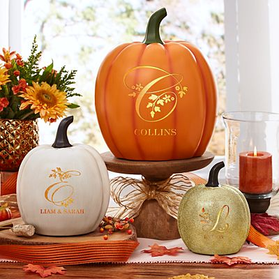 Light-Up Floral Name Pumpkin
