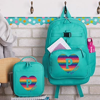 Rainbow Glitter Heart Initial & Name Aqua Backpack Collection