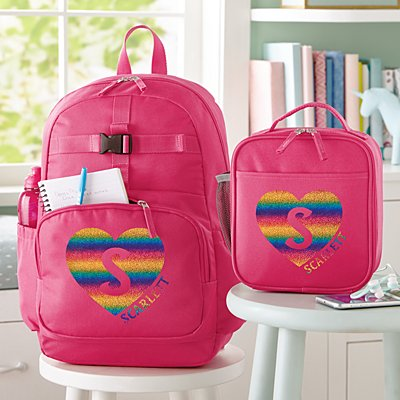 Rainbow Glitter Heart Initial & Name Pink Backpack Collection