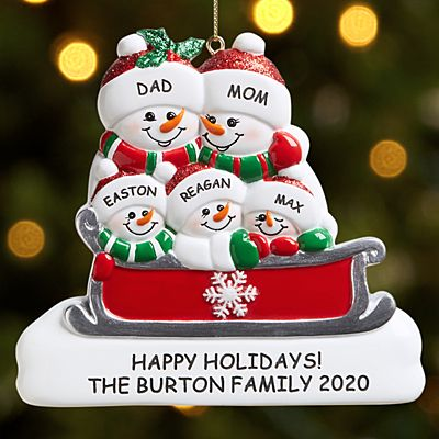 Sleigh Ride Snowman Family Ornament