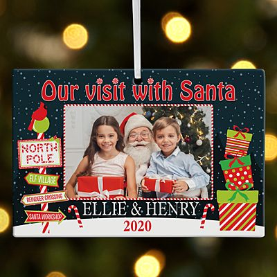 Visit with Santa Rectangle Photo Ornament