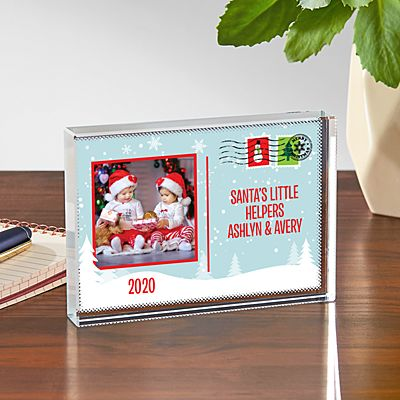Holiday Greetings Photo Postcard Glass Block