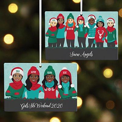 Bundled Up Besties Rectangle Ornament - 8 Girls