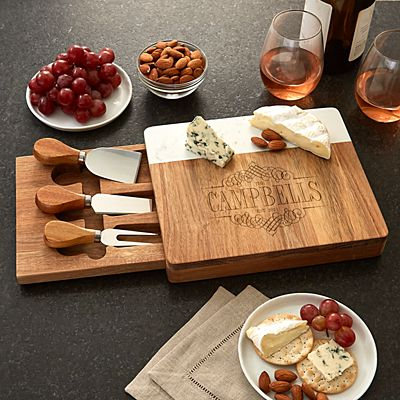 Decorative Name Marble Wood Cheese Board