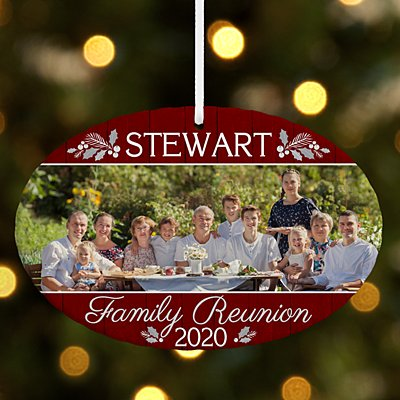 Family Reunion Photo Oval Ornament