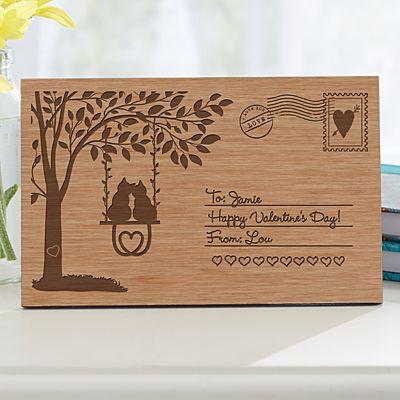 Swinging Into Love Wooden Postcard