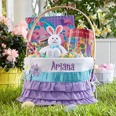 Colorful Daisy Round Wicker Basket