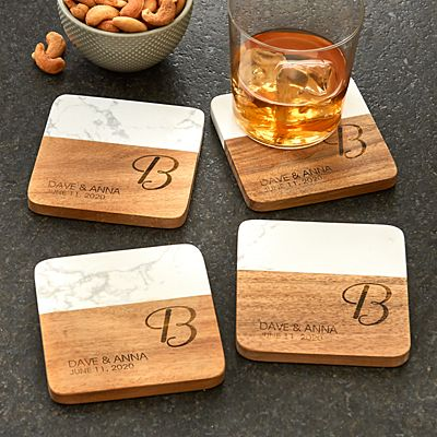 Classic Initial Marble & Wood Coasters