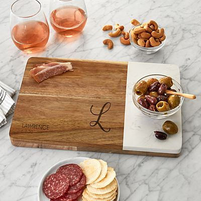 Classic Initial Marble & Wood Serving Board