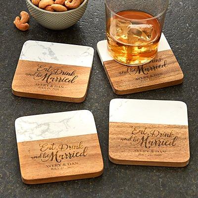 Eat, Drink & Be Married Marble & Wood Coasters