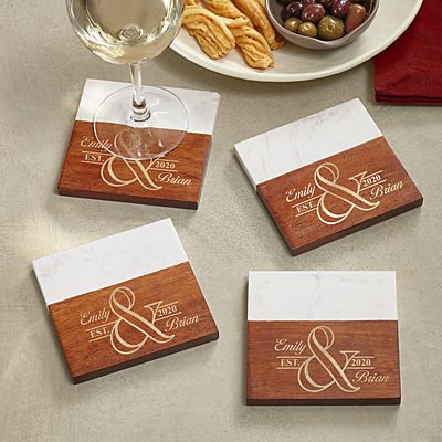 Simple Elegance Marble & Wood Coasters