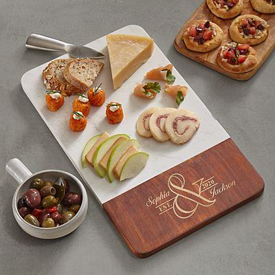 Simple Elegance Marble & Wood Cutting Board