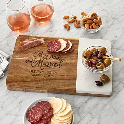 Eat, Drink & Be Married Marble Wood Server