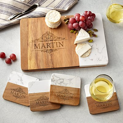 Marble Wood Entertaining 5pc Set