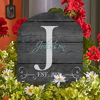 Family Initial & Name Wooden Yard Sign