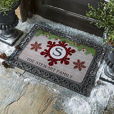 Festive Plaid Snowflake Initial Doormat