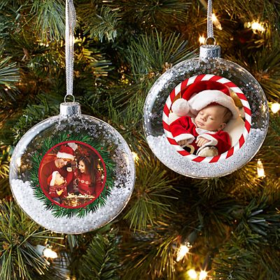 Holiday Photo Glass Glitter Ornament