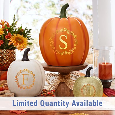 Light-Up Initial Wreath Pumpkin