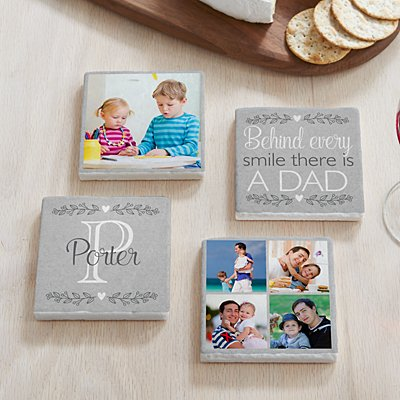 Photo Memory Collage Marble Coasters