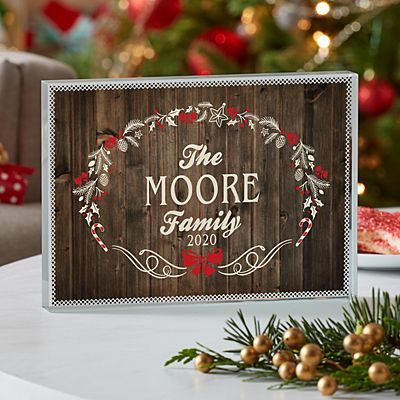 Rustic Christmas Glass Block
