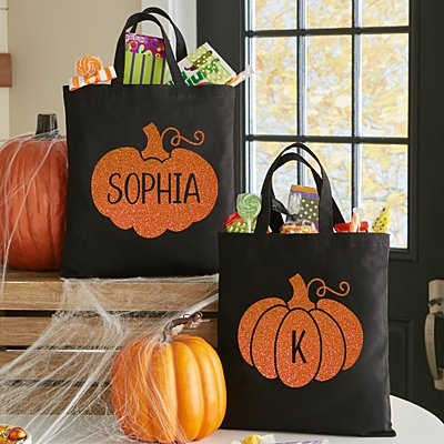 Spooky Sparkle Pumpkin Treat Bag