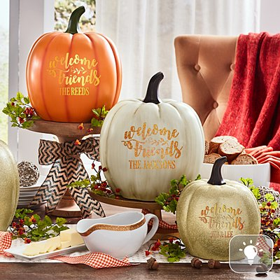Light-Up Welcome Friends Pumpkin