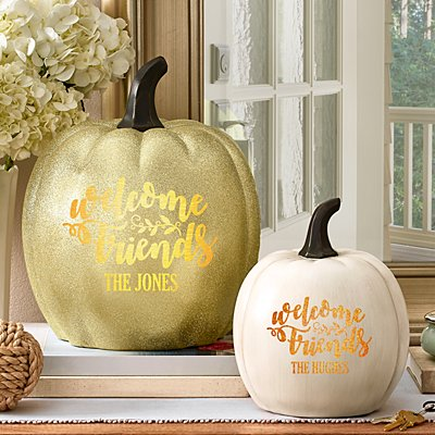Welcome Friends Light-Up Pumpkin