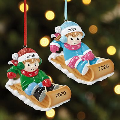 Winter Fun Kids Sledding Ornament