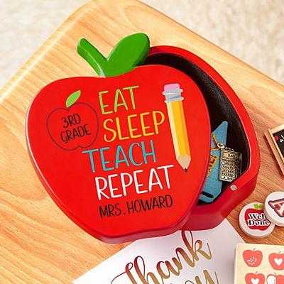 Eat, Sleep, Teach Wooden Apple Keepsake Box