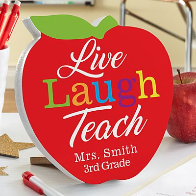 Live, Laugh, Teach Mini Wood Apple