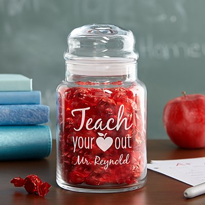 Teach Your Heart Out Glass Candy Jar