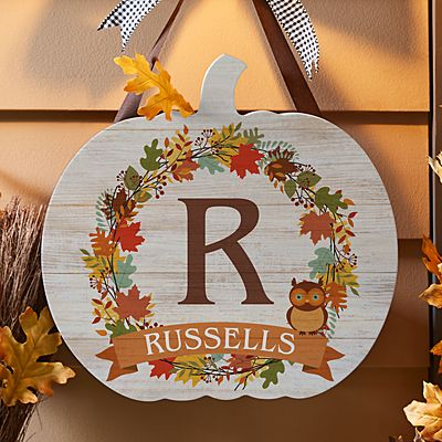Autumn Initial Hanging Wood Sign