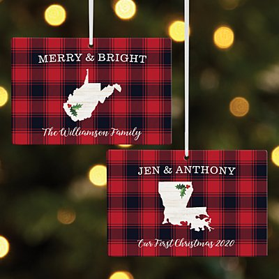 Buffalo Plaid State Rectangle Ornament