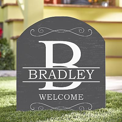 Classic Initial & Name Wooden Outdoor Sign