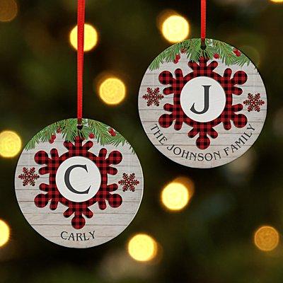 Festive Plaid Snowflake Initial Round Ornament