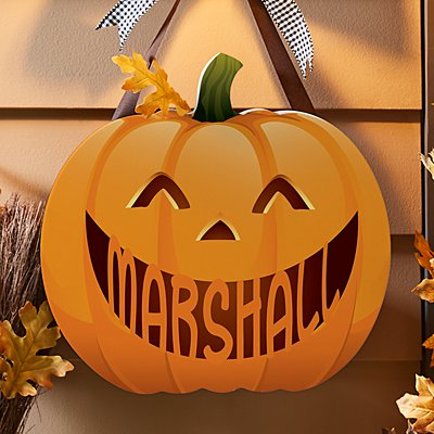 Jack-o-Lantern Pumpkin Hanging Wood Sign